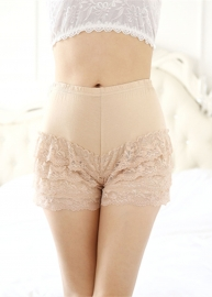 Plus Size Women Lace Modal Safety Bottom Underwear Apricot