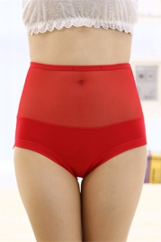 Sexy Women Underwear Seamless Lace Floral Panty Red