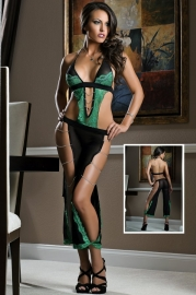 Latest Women Lingerie Sexy Green And Black Teddies