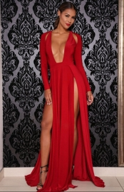 Red Latex High Split Front Body Suit Maxi Dress