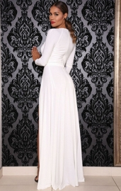 White Latex High Split Front Body Suit Maxi Dress