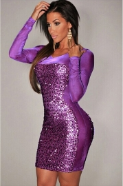 Sexy Bling Sequin Long Sleeve Translucent Clubwear Purple