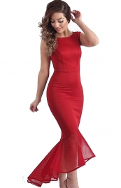 Red Tulle Sleeveless Irregular Hem Fishtail Party Evening Dress