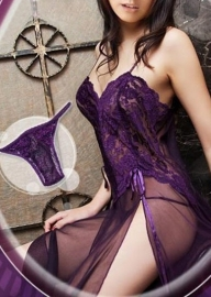 Sexy Women Lingerie Lace Embroider High Split Long Dress Purple
