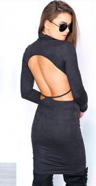 Long Sleeve Sueding Backless Tight Bodycon Dress Black