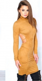 Long Sleeve Sueding Backless Tight Bodycon Dress Yellow