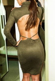 Long Sleeve Sueding Backless Tight Bodycon Dress Army Green