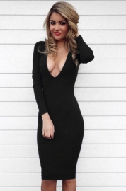 Black Deep V-Neck Long Sleeve Tight Bandage Dress