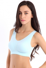 Sporty Vest Underwired Seamless Put-Ups Yoga Bra Blue