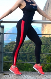 Sporty Leather Side Yoga Panty Red & Black