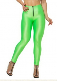 High Wiaist Put-Ups Zip Fashion Leggings Fluorescence Green