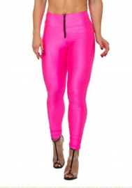 High Wiaist Put-Ups Zip Fashion Leggings Fluorescence Rosy