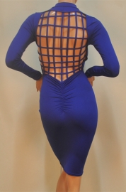 Blue Long Sleeve Strap Crossover Backless Bodycon Dress