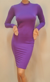 Purple Long Sleeve Strap Crossover Backless Bodycon Dress