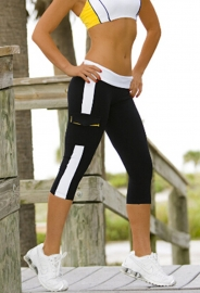 Jogger Cropped Trousers Pocket On the Side Sporty Pants Black