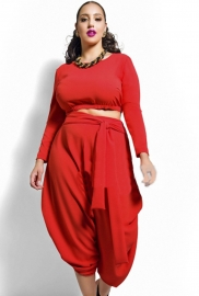 Plus Size Multi Culotte Irregular Solid Bodycon Dress Suit Red