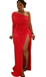 Plus Size Women High Split One Shoulder Bodycon Dress Red