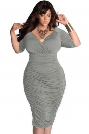 Plus Size Women Solid Half Sleeve Puckering Deep V-Neck Bandage Dress Grey