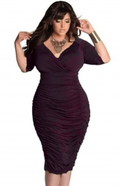 Plus Size Women Solid Half Sleeve Puckering Deep V-Neck Bandage Dress Wine Red