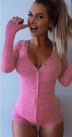 Sexy Women V-Neck Long Sleeve Jumpsuits Pink