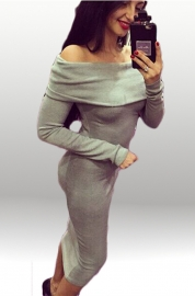 Elegant Women Slash Neck Long Sleeve Bodycon Dress Grey