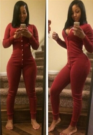 New ArrivalButton V-Neck  Long Sleeve Jumpsuits For Women Red