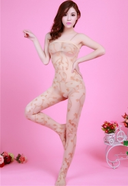 Women Hollow Out Embroider Translucent Sexy Stockings Apricot