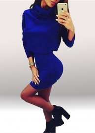 Women European 2pcs High Neck Bodycon Party Sweater Dress Blue