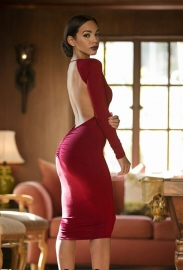 Elegant Hollow Out Backless V-Neck Bodycon Dress Red
