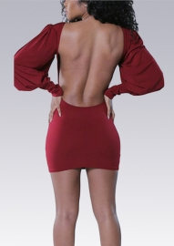 Women Sexy Hollow Out Backless Mini Bodycon Dress Red