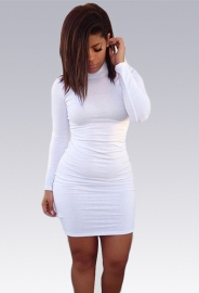 New Arrival High Neck Bodycon Dress White
