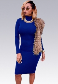 New Arrival High Neck Bodycon Dress Blue