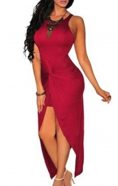 Women Sleeveless Puckering High Split Bodycon Dress Red