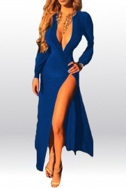 Fashion Girl Deep V Neck High Split Bodycon Dress Blue