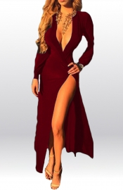 Fashion Girl Deep V Neck High Split Bodycon Dress Red