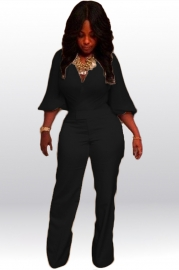 Women Plus Size Deep V Neck Jumpsuits Black