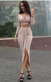 Sexy Crisscross Puckering Irregular Bodycon Dress Pink