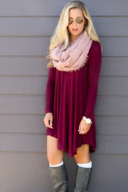 Casual Girls Cropped Bodycon Dress Wine Red