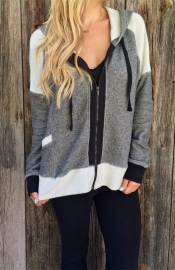 Casual Two-Tone Zippered Hoddies Grey