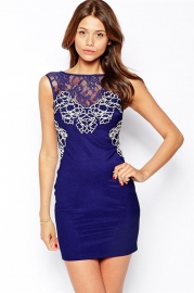 Sleeveless Embroider Lace Women Mini Dress Blue