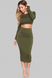 Fashion 2pcs Crop Top Solid Color Bodycon Dress Army Green