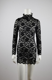 Elegant Embroider Lace High Neck Mini Dress Black