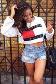 Fashion Color-Block Letter Print Sporty Hoody White