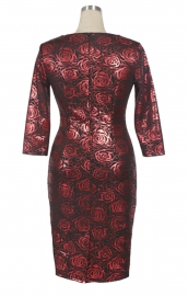 Formal Party Elegant Floral Print Fitted Casual Stretch Pencil Midi Dress Wine Red
