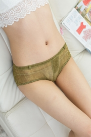 Sensual Women Faux Denim Panties Army Green