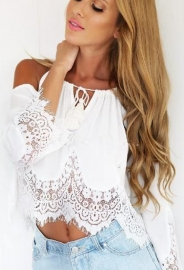 Seductive Women Patchwork Lace & Chiffon Top White