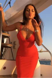 New Arrival Sexy One Piece V-Neck Strappy Bodycon Dress Red