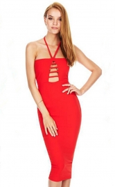 Stylish Ladies Halterneck Strappy Bodycon Dress Red