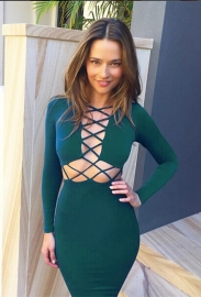 New Arrival Sexy Glamour Long Sleeves Strappy Crossing Bandage Dress Dark Green