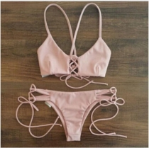 Sexy Women Retro 2pcs Swimsuit Pink